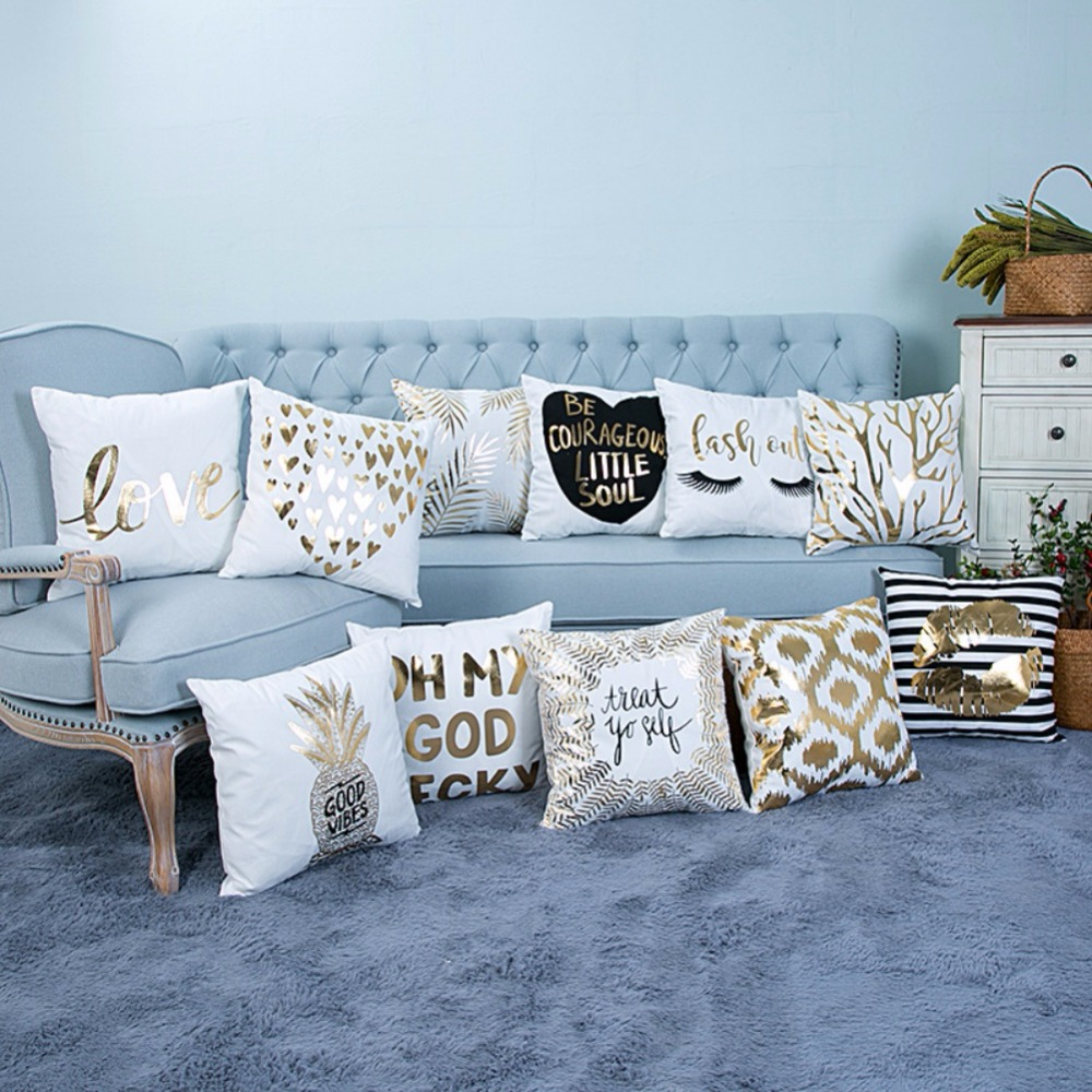 Pattern Super Soft Pineapple Silver Pillow Sets Of Cotton Love Letters Bronzing And Linen Car Sofa Cushions Pillow gis chino para chinches