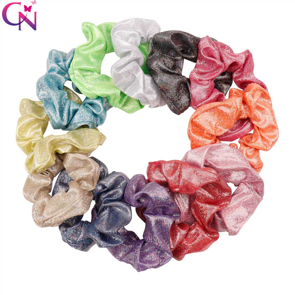 Laser Women Shiny Elastic Hair Ties Girl Hairband Rope Ponytail Holder Scrunchie Headband Hair Accessories   Headwear   Gum For Hair