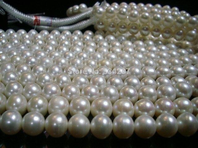 100% Venta de Imagen completa Natural Al Por Mayor de 5 Strand 8-9 MM Blanco Collar de Perlas de AAA