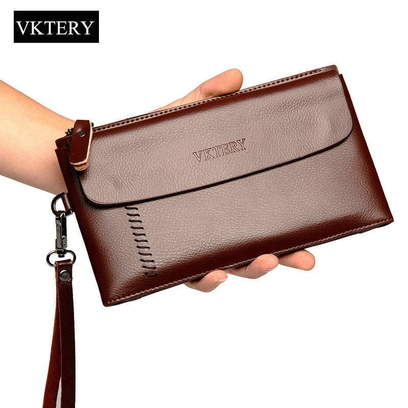 Cowhide Leather Men Clutch Wallets Zipper Large Capacity Hand Strap Men Wallet Luxurious Business Solid Male Purses(China)