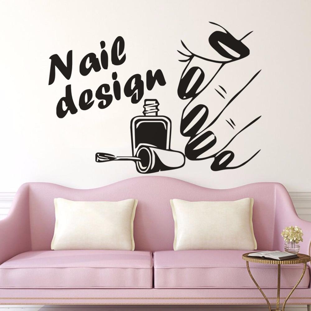 Nail salon wall sticker nail design logo wall decals vinyl beauty shop wall mural nails wall art - Stickers salon design ...