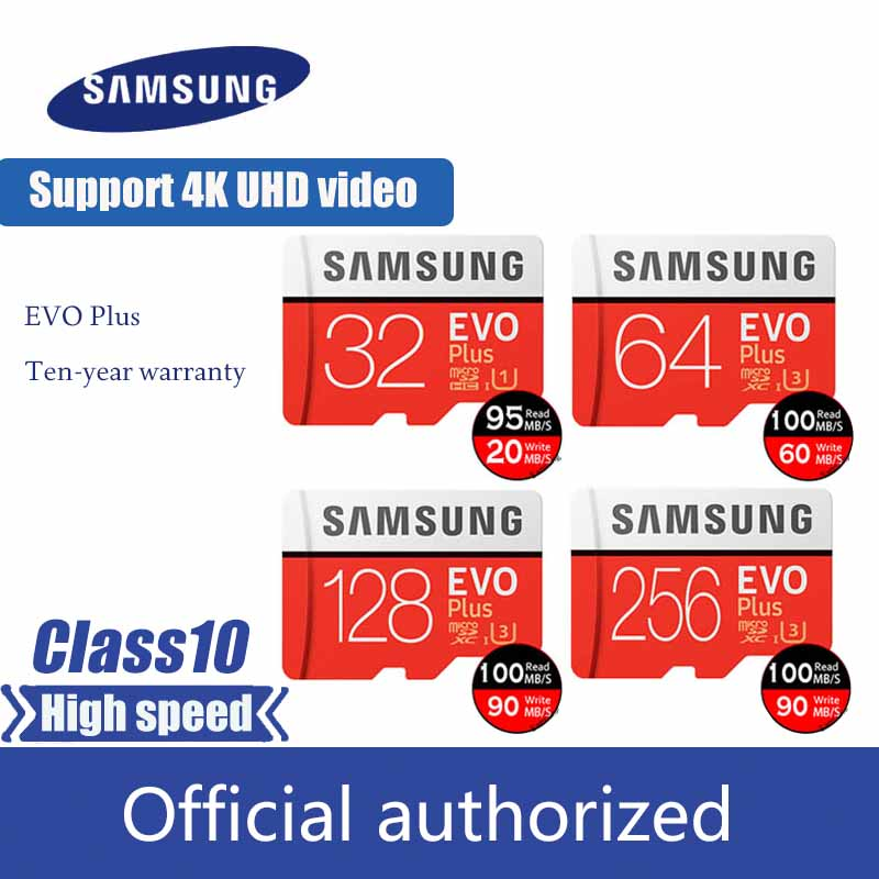 SAMSUNG Micro SD Card 64GB U3 MicroSDXC TF Card MicroSD Class 10 Memory Card 32GB EVO Plus 256GB 128GB 16GB Cartao De Memoria
