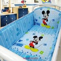 Dinsey Kit Berco Cartoon Baby Nursery 5pcs Baby Bedding Set Curtain Berco Crib Bumper Baby Bed Set Organizer Bumper Sheet Pillow
