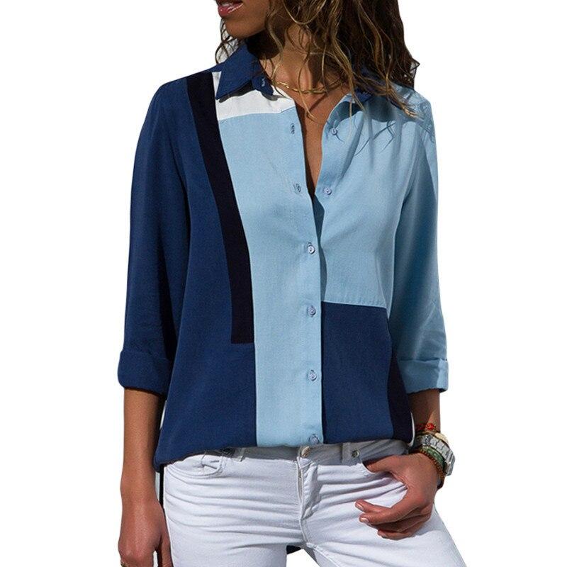 2018 Herbst Frauen Langarm Bluse Farbe Block Casual Taste Bluse Hemd Büro Damen Lose Tops Streetwear Camisa Feminina SorgfäLtige FäRbeprozesse