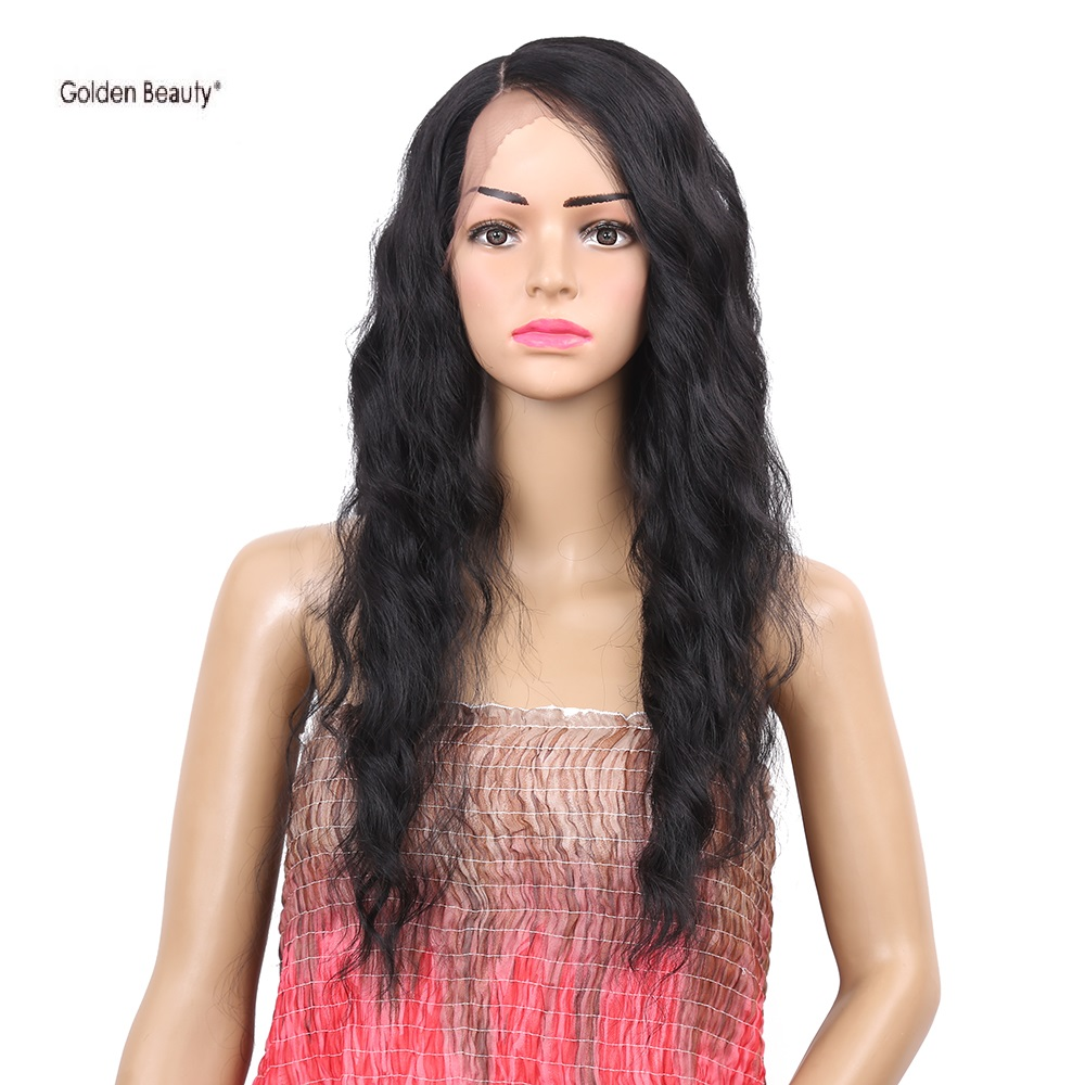 26inch Wavy Synthetic Wig Long Black Wig Lace Front Heat Resistant Wig Women Hair Glueless Lace Wig Golden Beauty