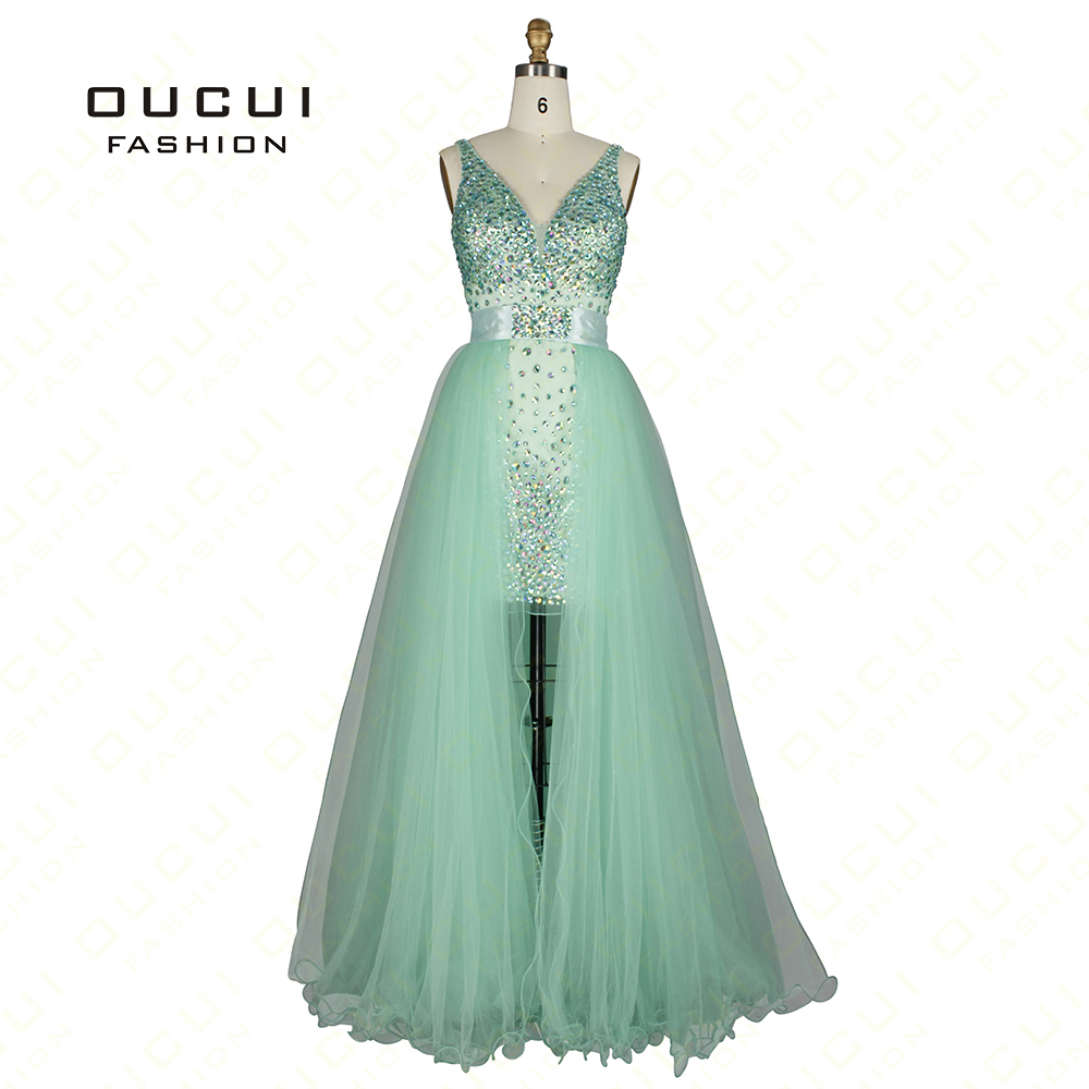 Tulle Fabric Twinset Design Beading hand work High End Quality Long   Prom     Dress   OL102304