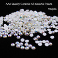 Hot South Korea Imported Highlight Bright AB Colorful Pearls 100pcs Top Level Nail Art Glitter pearls Manicure Decorations Bead