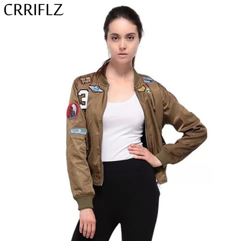 CRRIFLZ New vintage patch   basic     jacket   coat Spring autumn street bomber   jacket   Women reversible baseball   jackets   sukajan