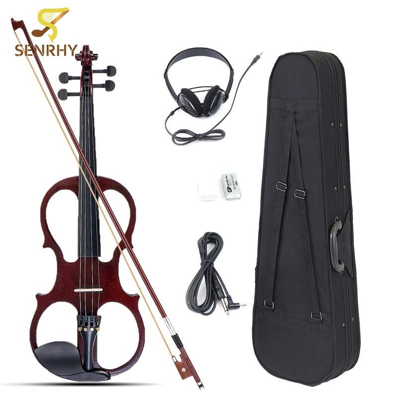 4/4 Instrumento De Cordas de Violino Violino Basswood Elétrica Bilateral com Acessórios Cabo de Fone De Ouvido Caso para Os Amantes Da Música Iniciantes