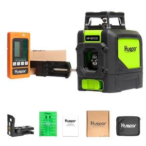 Image 2 - Huepar Laser Level Green Beam Cross Laser Self leveling 360 Degree with 2 Pluse Modes+Huepar Digital LCD Laser Receiver Detector