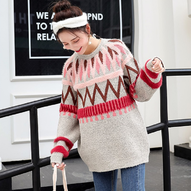 new autumn/winter maternity clothing maternity sweater knitted o-neck sweater pregnacy women's sweaters one size