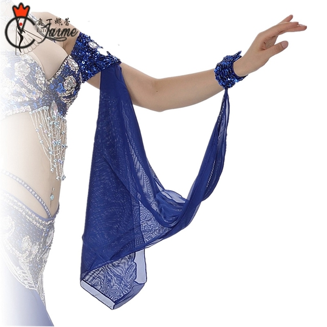 a5e44ca0e 11 Colors Wholesale Belly Dance Costume Accessories 1 Piece Arm Sleeves  Wrist Adjustable Chiffon Sleeve Sequins Armbands