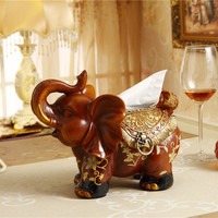 New Upscale Handmade Resin Elephant Tissue Box Paper Tray Cute Animal Creative Napkin Holder Stand Home