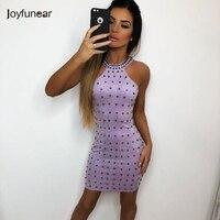 Joyfunear suede dress for women turtle neck rivet sleeveless dresses sexy party wear fitted bodycon high waist vestidos