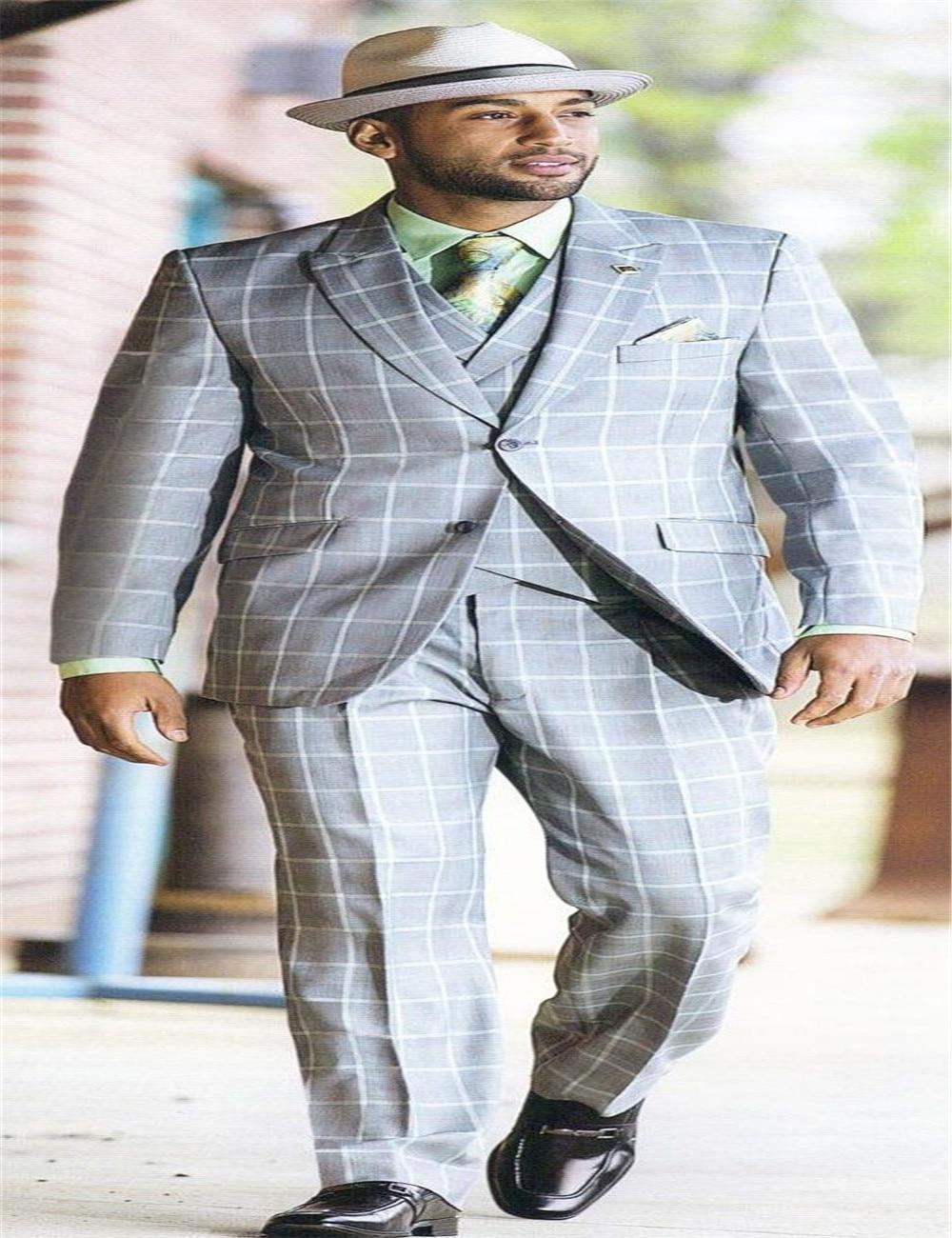 슬림 피트의 신랑 정장 파란 격자 무늬의 두 버튼 남성 웨딩 턱시도 노치 옷깃 패션 클로스 남성 재킷 + 바지 + 조끼