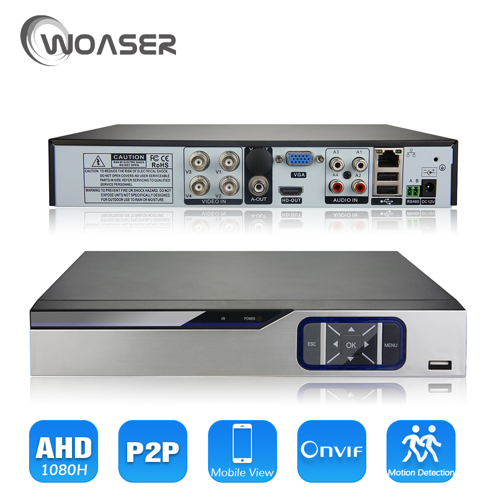 WOASER 1080P AHD-NH Hybrid 4Channel AHD DVR Recorder 5 In 1 Hybrid AHD DVR 1080P/720P Support For 2.0MP AHD Camera and IP Camera ahd