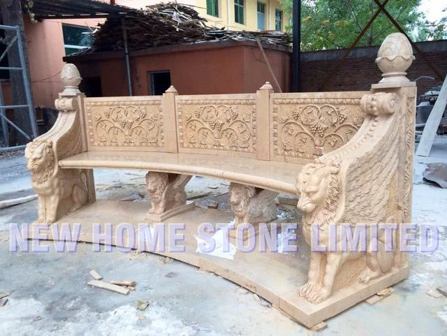 China Carving Curved Stone Garden Benches Fly Lions Legs Carved Park Stone  Chair