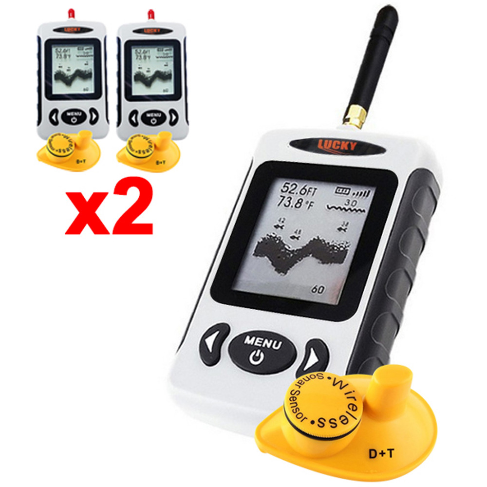 2 x pieces LUCKY FFW-718 Digital Wireless Dot Matrix Fish Finder 131ft / 40M Sonar Radio Sea Bed Contour Live Upate w/ Alarm