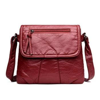CmetNi noir petit sac Messenger femme doux lavé PU cuir sac à bandoulière femme sac à main sacs à main