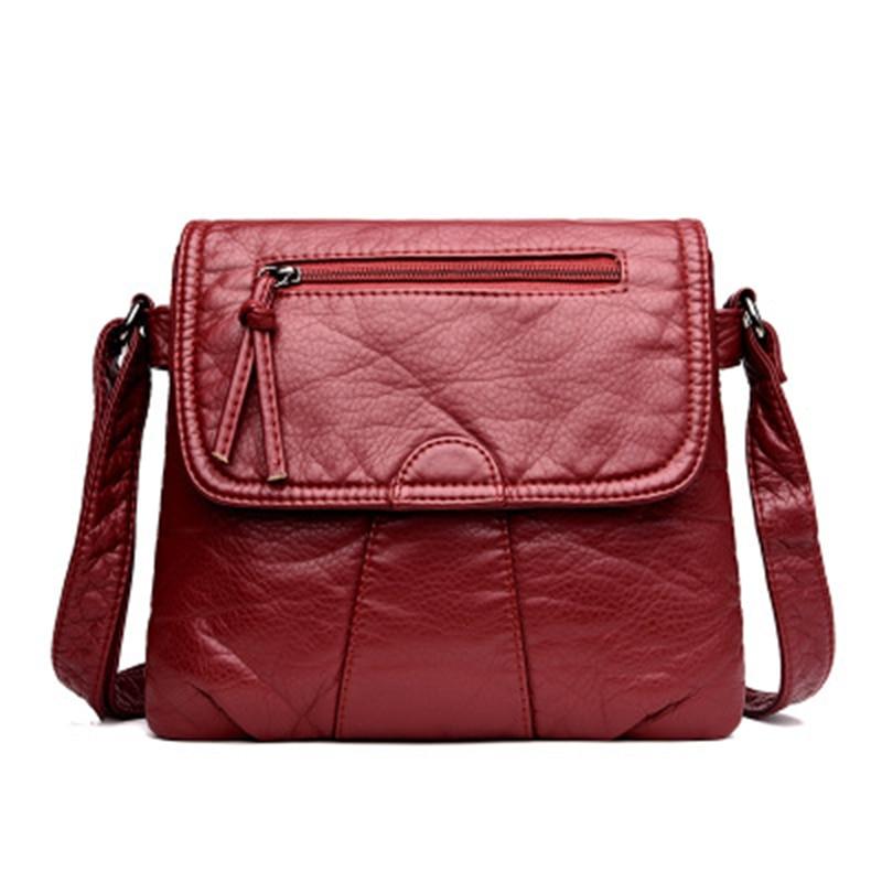 Small Women Messenger Bag Soft Washed PU Leather Crossbody Bag Female Handbag Purses