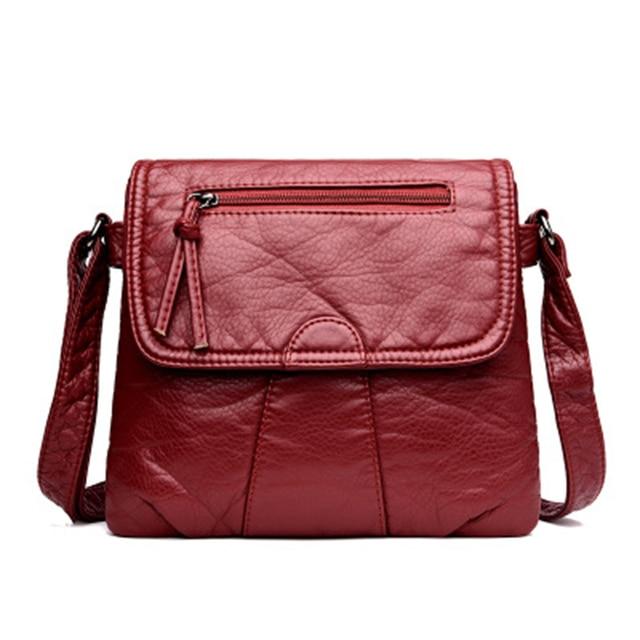 CmetNi Black Small Women Messenger Bag Soft Washed PU Leather Crossbody Bag Female Handbag Purses