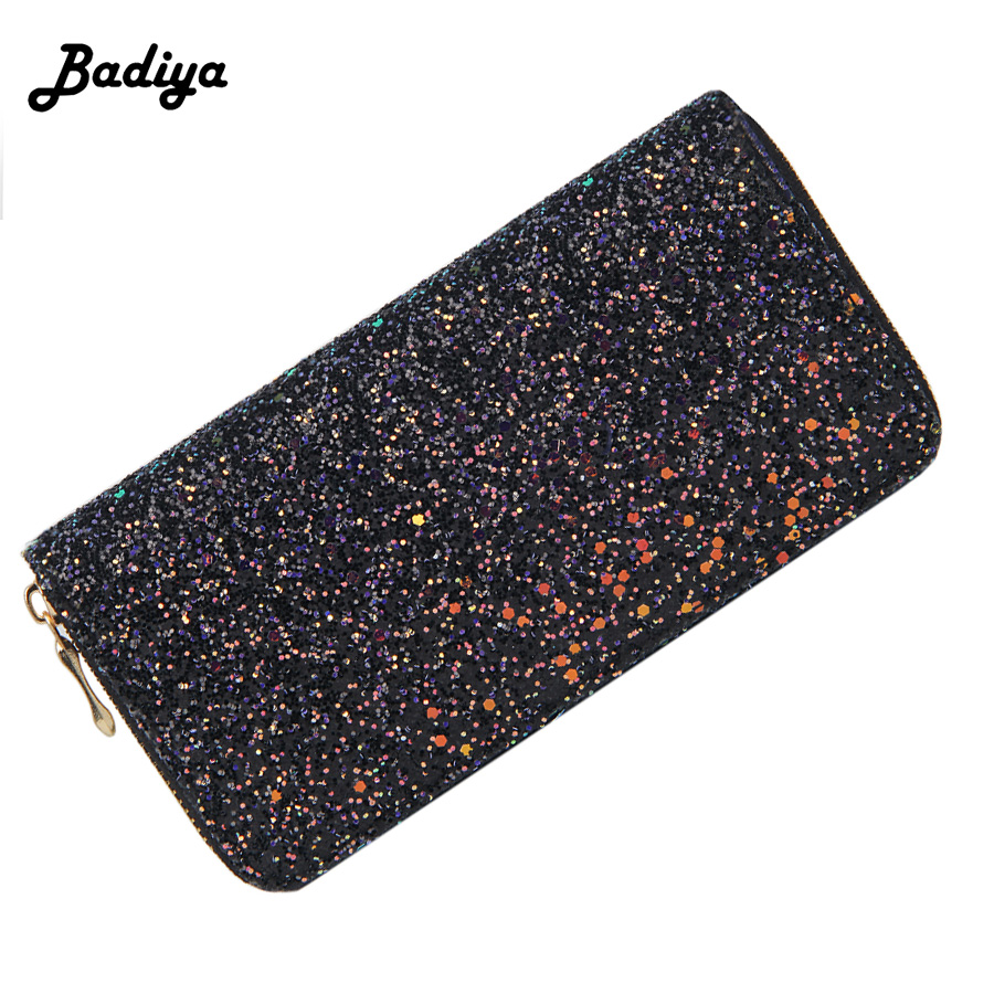 Long Style Wallet Women Pu Leather Luxury Design Sequin Purse Ladies Elegant Zipper Cash Credit Card Holder Money Bag carteira hot sale owl pattern wallet women zipper coin purse long wallets credit card holder money cash bag ladies purses