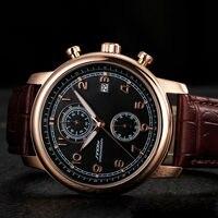 Sinobi Top brand Classic Retro Fashion Business Quartz Watch Men leather Strap Japan Casual Watch Chronograph Auto Date New