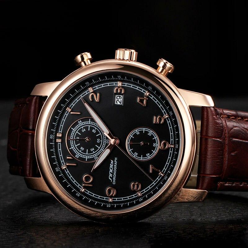 Sinobi Top marke Klassische Retro-Mode-Business Quarzuhr Männer lederband Japan Beiläufige Uhr Chronograph Auto Datum Neue