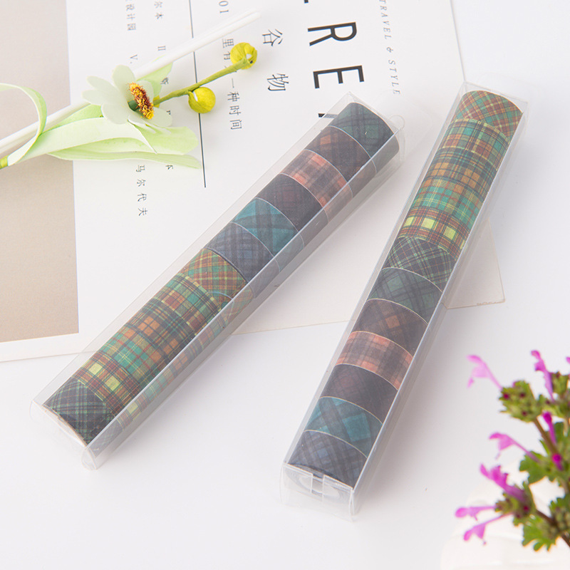 (12 Pieces/lot) 12mm Vintage Mini Washi Tape Plaid Masking Tape Kawaii Stickers For DIY Scrapbooking