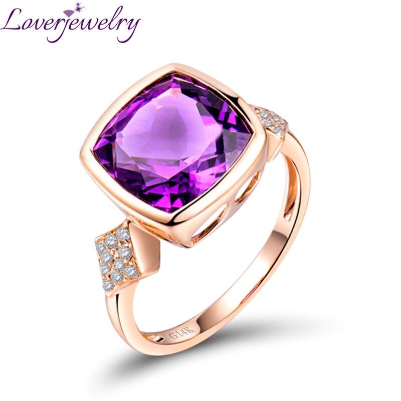 Bijoux en or Rose 14K massif taille coussin naturel améthyste pourpre anneau beau cadeau pour la vente en gros de fille