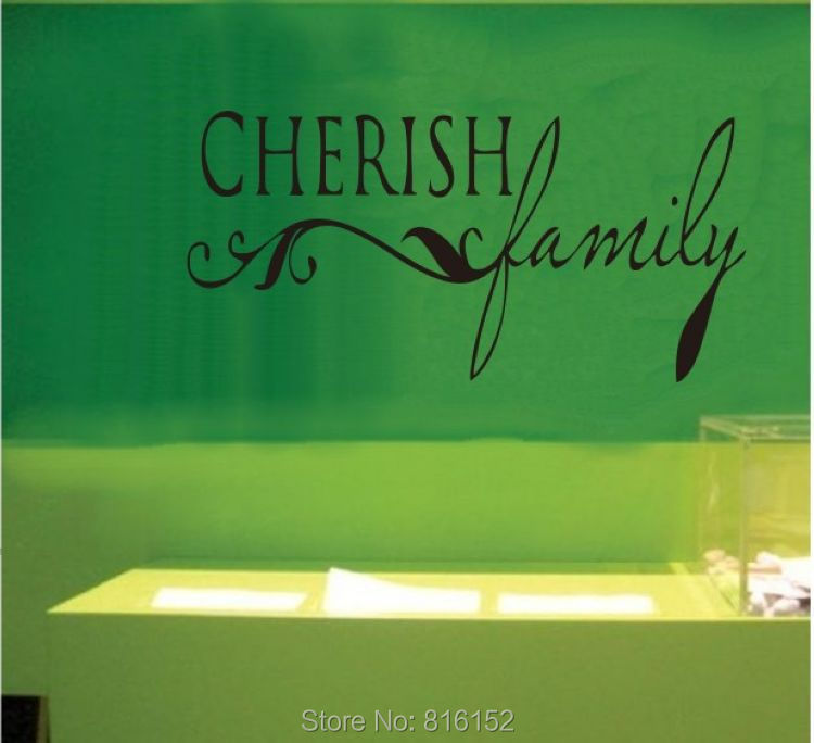 Cherish Family Home Cute vinyl wall decal quote sticker decor Inspirational