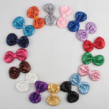 50pcs/lot Glitter Hair Bows Girls Headwear Accessories17 colors Embroideried Kids Messy Sequin Bows Boutique Hair Bows For Hair