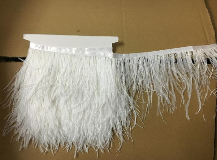 2yards/lots White Long Ostrich Feather Plumes Fringe trim 10-15cm Feather Boa Stripe for Party Clothing Accessories Craft