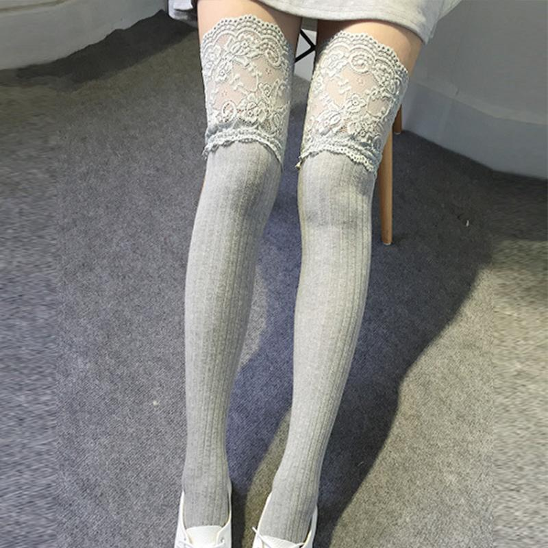 9c6275244e7 Girls Sports Stocking Lace Knitting Hosiery Cotton Over Knee Thigh  Stockings High Socks Pantyhose for women on Aliexpress.com
