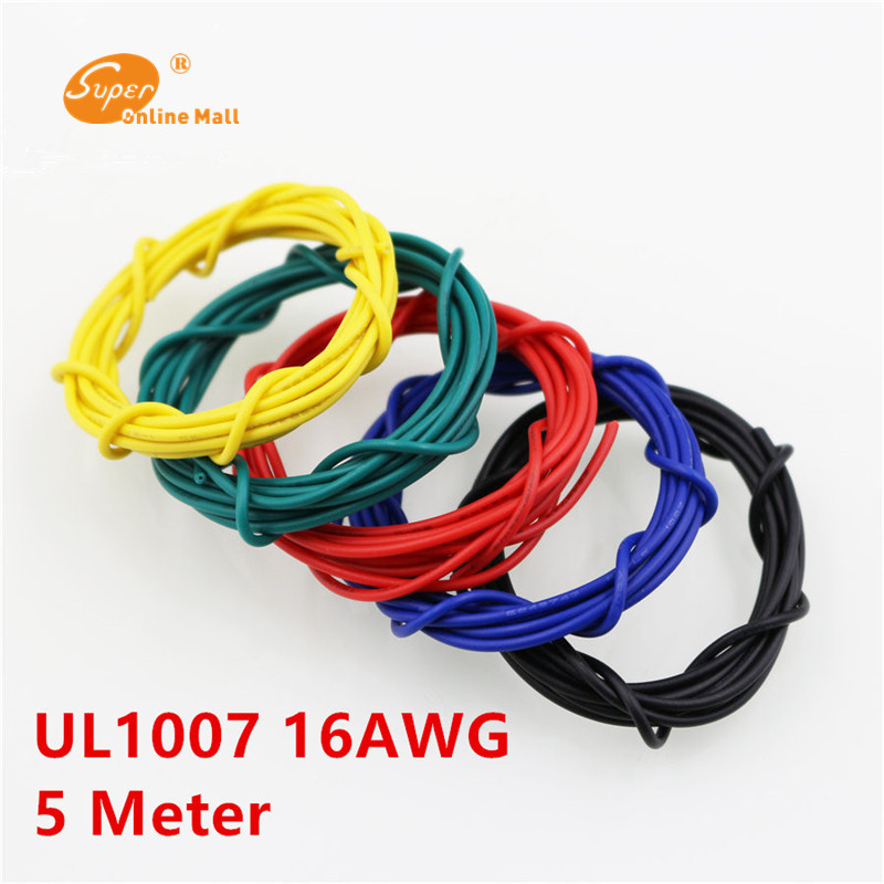 5m/lot <font><b>16</b></font>.4ft UL1007 <font><b>16</b></font> <font><b>AWG</b></font> Cable Copper Electrical Wires Cables DIY Equipment Wire 26/0.25TS OD 2.4mm image