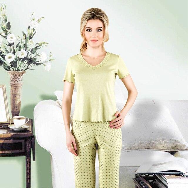 10cc63f64f44 New year gift Top Quality Womens Pajamas Set Solid Short Sleeve Lace  Nightwear Elastic Rib Tops Full Length Pants sleepwear