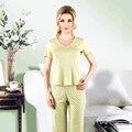 Regalo de año nuevo de Calidad Superior de la Mujer Pijamas Set Sólido de Manga Corta ropa de Dormir de Encaje Elástico Costilla Tops Pantalones Largos ropa de dormir
