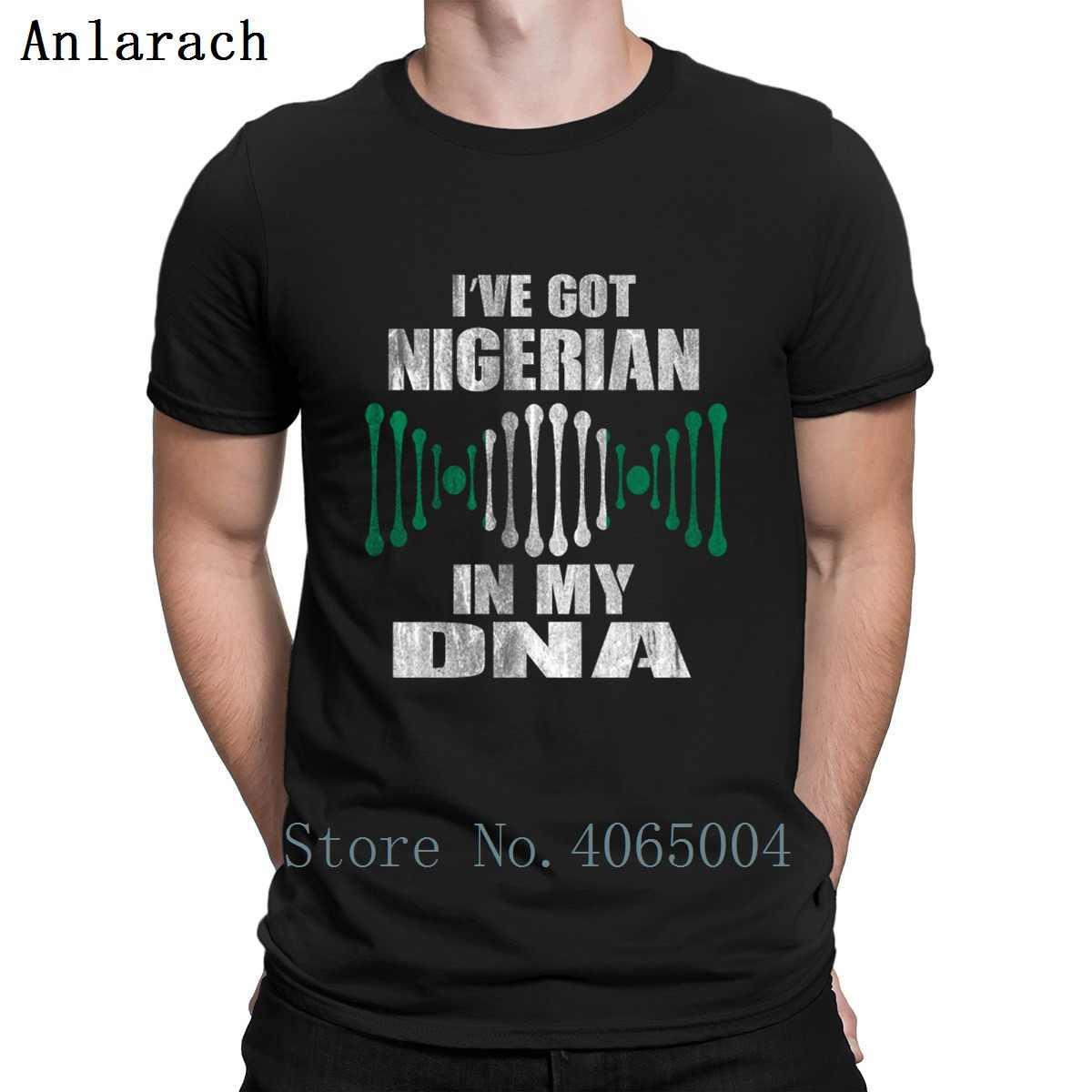 Nigeria Dna T Shirt Umorismo di Autunno della Molla del Cotone di Fitness Vintage Rotonda Del Collare di Stampa Camicia Sottile