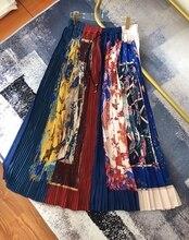 EXCOSMIC 19 Summer Printing Pleated Maxi High Waist Ruffle Plus Size Skirt Long Overskirt Saia Bohemian Tutu Street Style