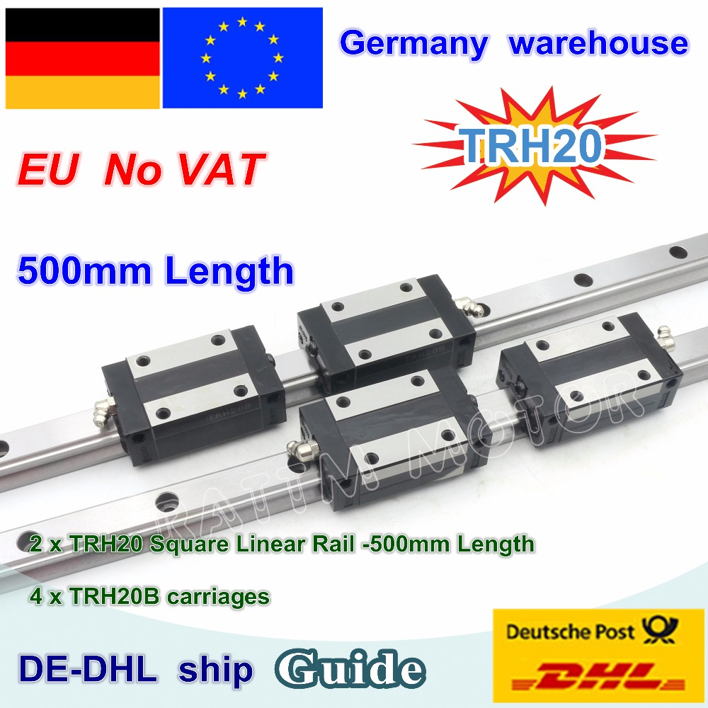 DE free VAT 20mm Square Linear Guide Rail TRH20 500mm/800mm & TRH20B carriages Slider Block Square block for CNC Router Milling large format printer spare parts wit color mutoh lecai locor xenons block slider qeh20ca linear guide slider 1pc