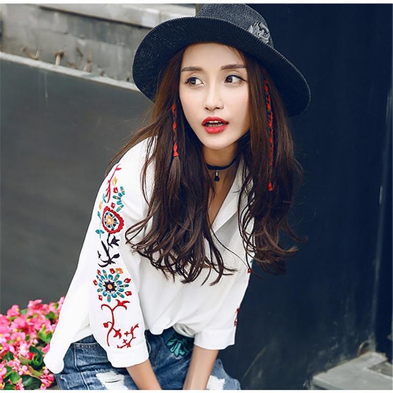 2017 primavera nueva blusa de cuello mandarín estilo Chino bordado camisa blanca