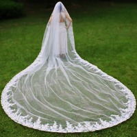 Real Photos Luxury Bling Sequins 5 Meters Long Wedding Veil with Comb 5 M White Ivory Tulle Bridal Veil Voile de Mariee