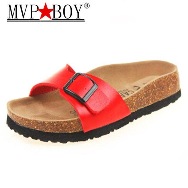 2ceac777ce7 MVP BOY plus size women cork sandals famous brand flower printing flip flops  unisex buckle slippers beach sandals wmen Babouche