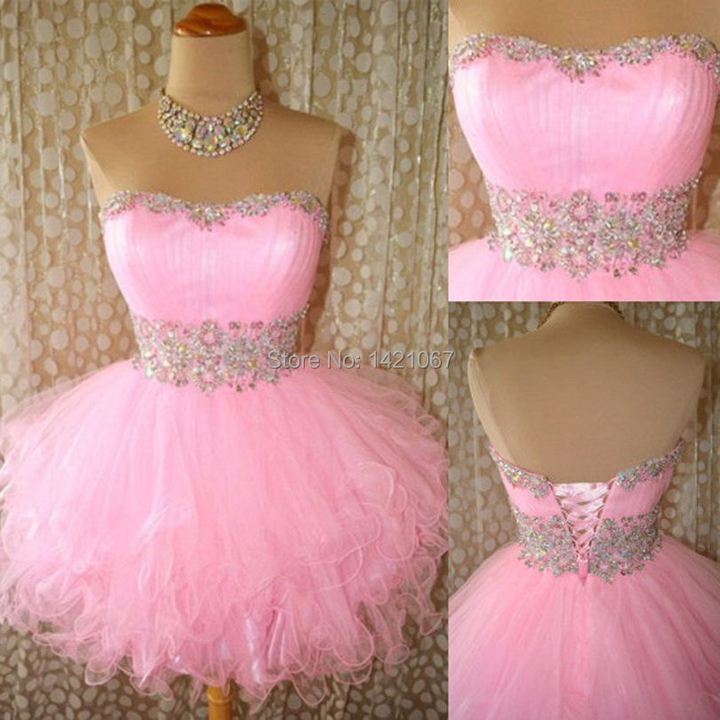 Cheap Pink Mini Prom dresses Fast Shipping 2016 Sweetheart Strapless Beads Short Cocktail Ruffles Line Party prom gown VE-12 - Veiai store