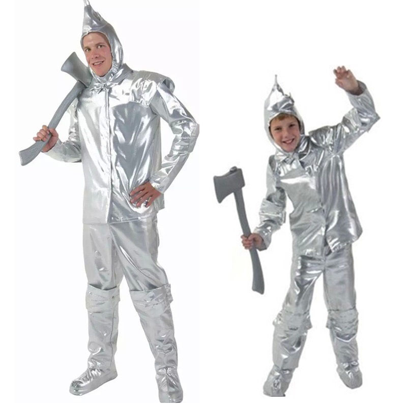 Adult Men & Child Tin Men Costume The Magician Wizard of Oz Cosplay Father And Son's Outfit Suit TV Movie Fancy Party Clothing