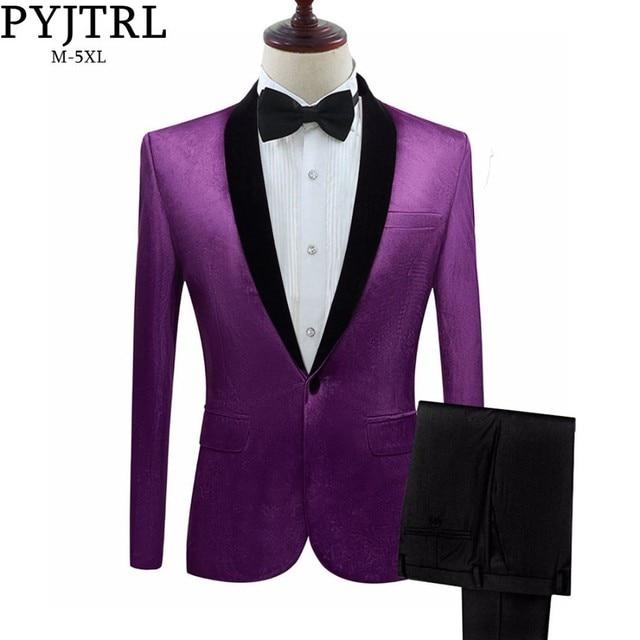 PYJTRL Mens Green Purple Pink Blue Gold Red Black Velvet Suits With Pants Wedding Groom Singers Prom Dress Suits Costume Homme