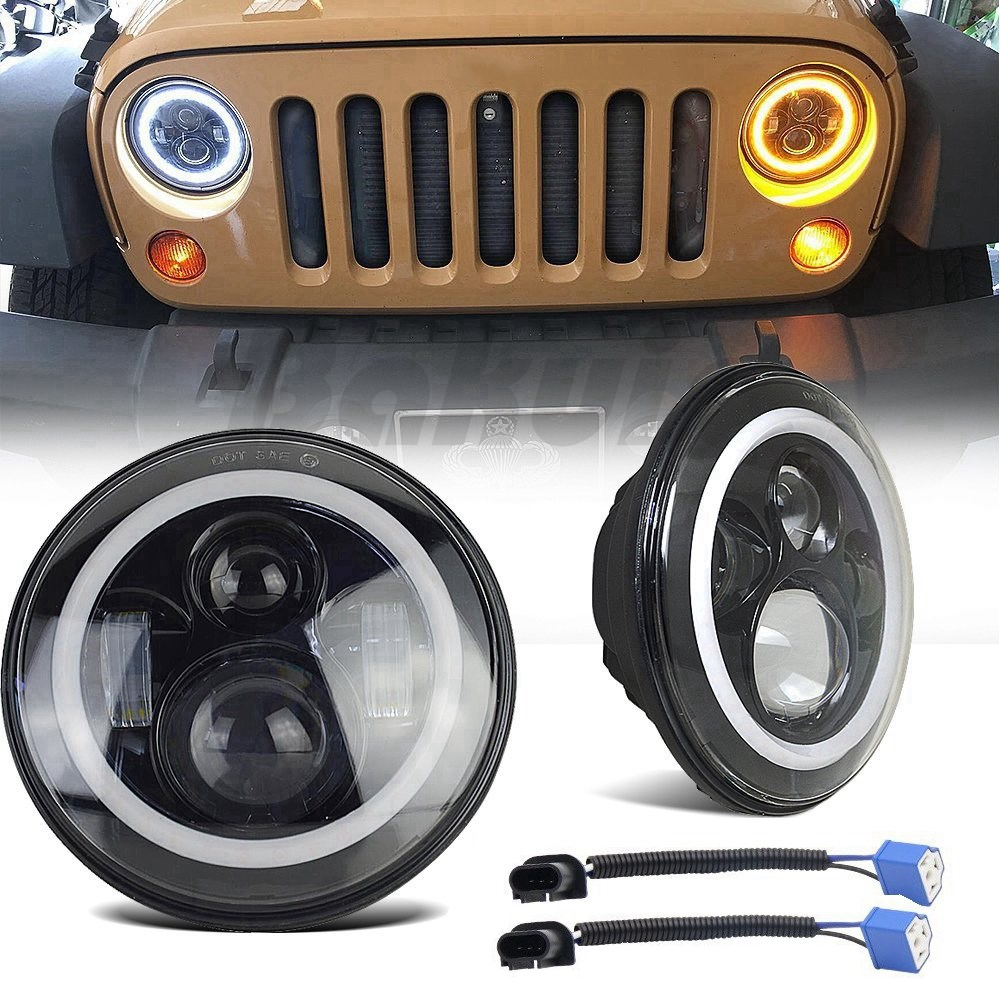 7 LED H4 Halo Headlights with H4 to H13 Adapter For lada niva 4x4 7Inch LED Headlamps with Amber Turn Signal For Jeep Wrangler 7inch led halo headlights kit 7 led headlight h4 hi low auto headlight with angle eye for jeep harley lada niva toyota uaz 4x4