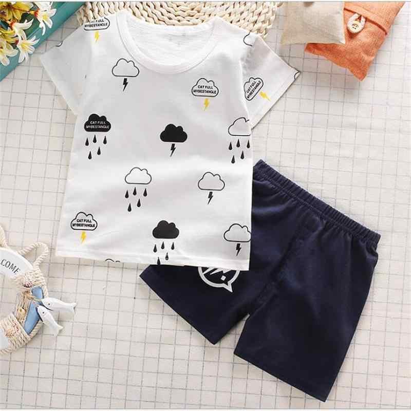 6eacf80eb468 2018 Summer Baby Girl Clothes Set Cotton Cartoon Animal Newborn Baby  Clothes Short t Shirt+