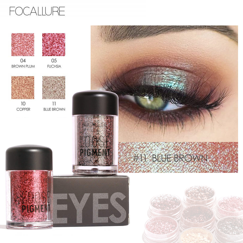 FOCALLURE full professional Makeup Glitter Eyeshadow Powder Waterproof Metallic Cosmetic Eyes Pigment shadow palette fashion 10pcs professional makeup powder foundation blush eyeshadow brushes sponge puff 15 color cosmetic concealer palette