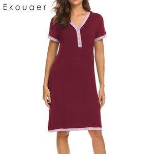 Image 3 - Ekouaer sukienka wieczorowa koszule nocne bielizna nocna macierzyństwo karmienie piersią koszula nocna domowa koszulka z krótkim rękawem damska dekolt nocna koszula nocna